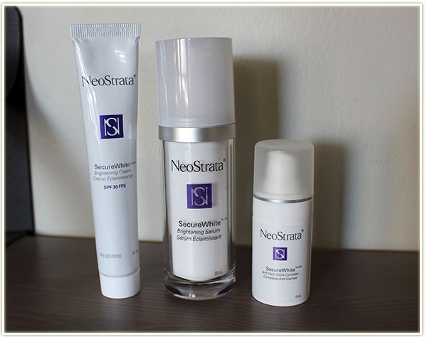 A selection of products from NeoStrata's SecureWhite line up