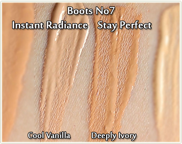 Boots No7: Instant Radiance in Cool Vanilla and Stay Perfect in Deeply Ivory