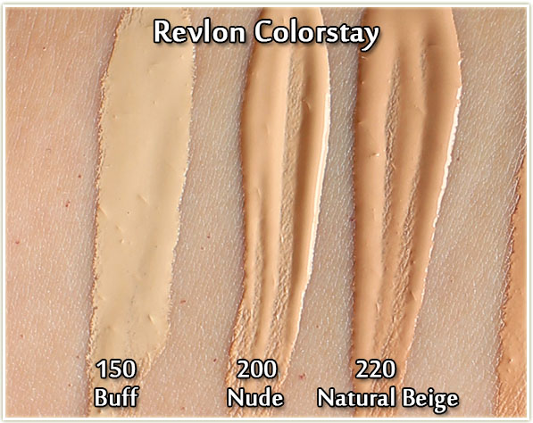 Revlon Colorstay in 150 Buff, 200 Nude and 220 Natural Beige