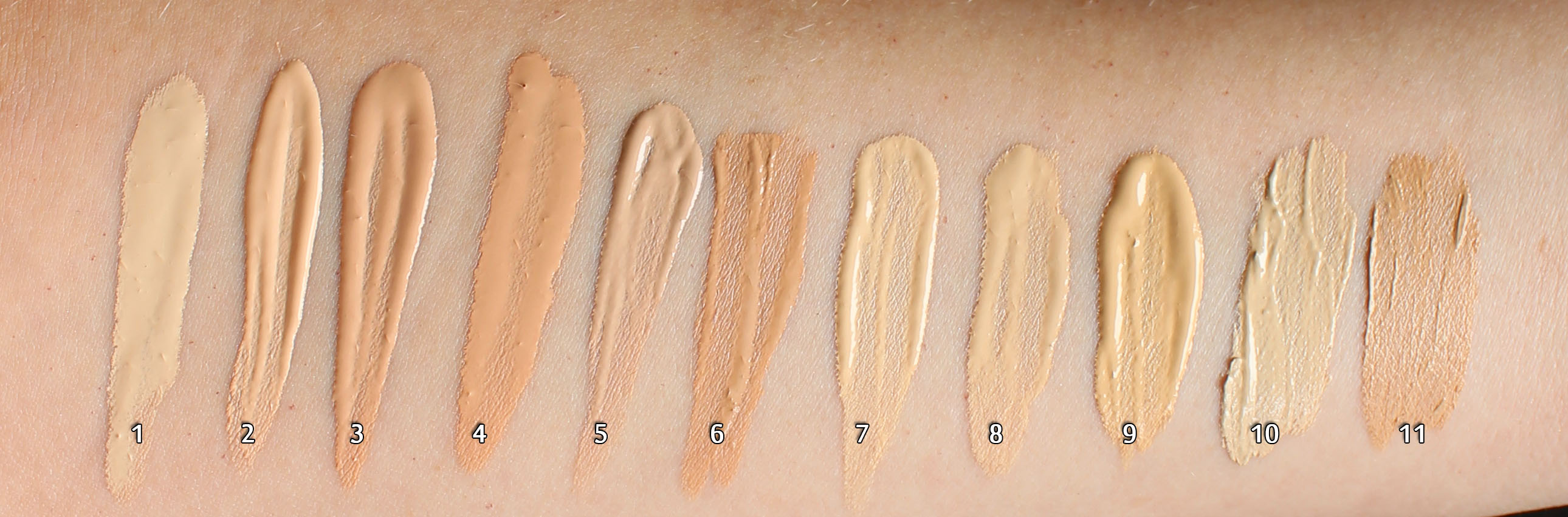 Hand Swatches Of Dermacol Makeup Cover Shades