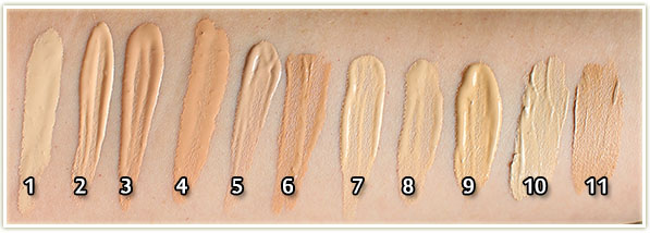 All my foundations swatched – click to enlarge