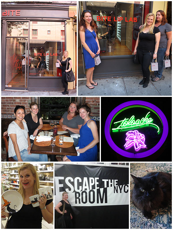 Day 2 - Got a lipstick made at the BITE Beauty Lip Lab, had amazing Mexican food at Toloache, hung out with Thida for the first time, discovered amazing Halloween cat stuff at Crate + Barrel, Escaped the Apartment in NYC and fell in love with Thida's cat.