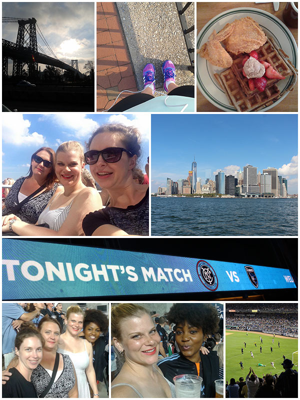 Day 3 - Early morning run followed by chicken and waffles, went out to Governor's Island to... have drinks, went to a New York City FC game at Yankee Stadium.