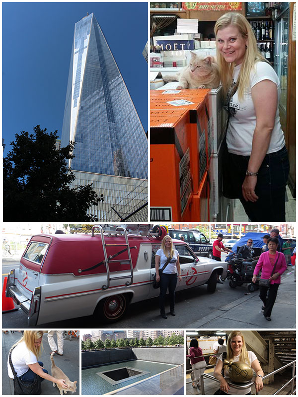 Day 4 - Visited the new World Trade Center and monument, discovered the Ghostmobile in Chinatown, fell in love with a blonde cat and shot a lot of pictures of the sculptures at 14th Street Station.