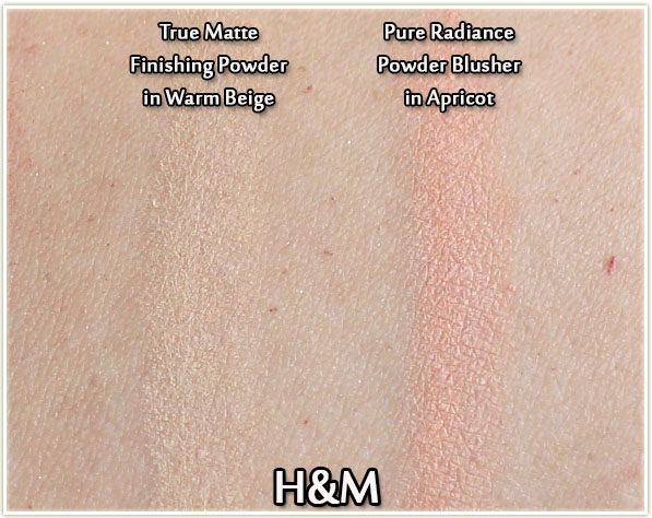 H&M True Matte Finishing Powder in Warm Beige and Pure Radiance Powder Blusher in Apricot (swatches)