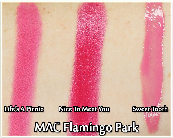 MAC - Flamingo Park swatches: Life's A Picnic blush, Nice To Meet You lipstick and Sweet Tooth cremesheen glass