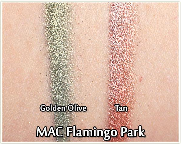 MAC - Flamingo Park swatches: Golden Olive & Tan