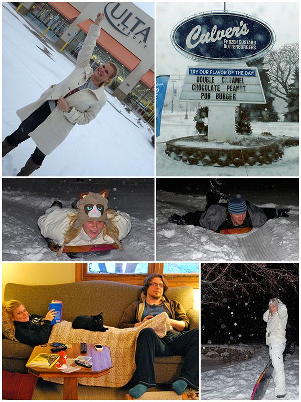 Day 4 - Ulta, Culver's, snowstorm, sledding in the backyard