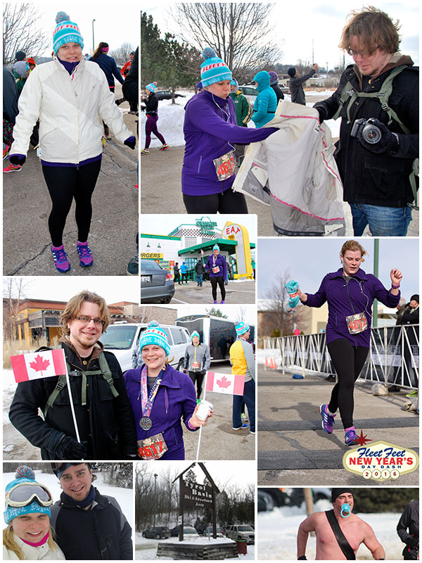 Day 8 - New Year's Day Dash (5 mile race) in Middleton, snowboarding/skiing at Tyrol Basin