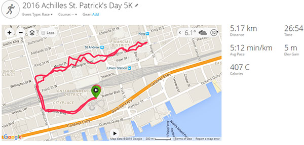 2016 Achilles St. Patrick's Day 5K - course map