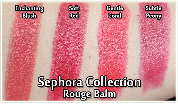 Sephora Collection Rouge Balm swatches - Enchanting Blush, Soft Red, Gentle Coral and Subtle Peony
