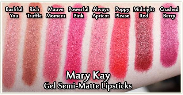 Mary Kay Gel Semi-Matte Lipsticks - swatched