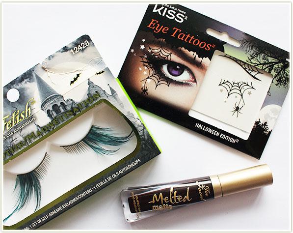 False lashes, eye tattoos and black lips!