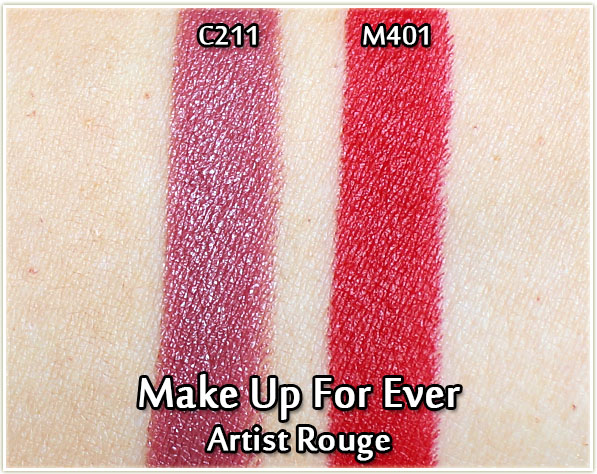 Make Up For Ever Artist Rouge Lipstick Swatches - C211 and M401