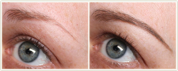 Left - naked brow, Right - Wearing Brow Precise in Blonde