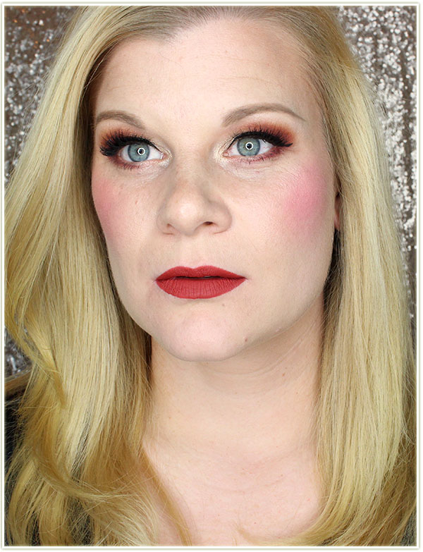 Wearing NARS Fearless Red matte lipstick and Impudique blush