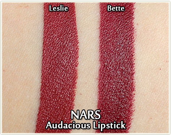 NARS Audacious Lipsticks - Leslie and Bette - swatches