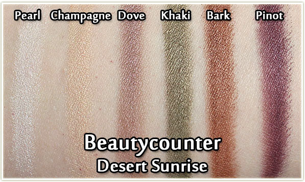 Beautycounter Desert Sunrise palette - eyeshadow swatches