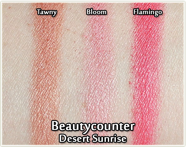 Beautycounter Desert Sunrise palette - blush swatches