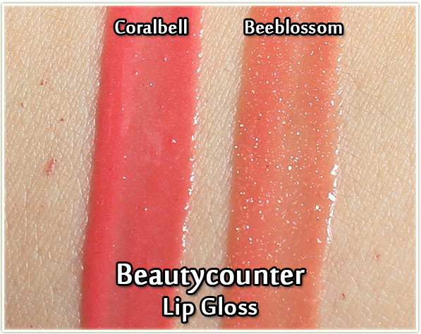 Beautycounter lip gloss swatches - Coralbell and Beeblossom