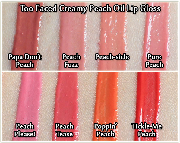 Too Faced Creamy Peach Oil Lip Gloss - swatches