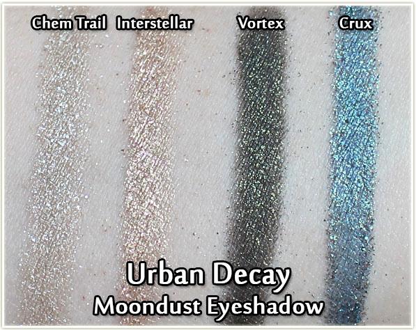 Urban Decay Moondust swatches - Chem Trail, Interstellar, Vortex and Crux