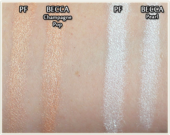 Physicians Formula compared to BECCA - swatches