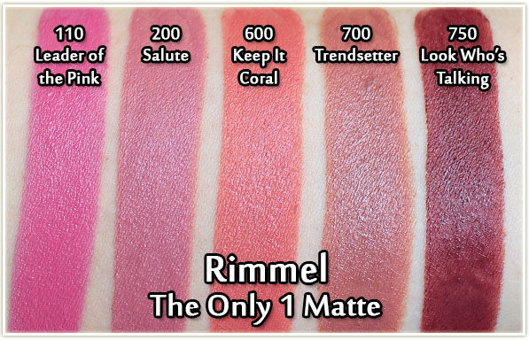 Rimmel The Only 1 Matte Lipsticks swatches - Leader of the Pink, Salute, Keep It Coral, Trendsetter and Look Who's Talking
