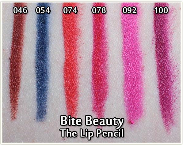 Bite Beauty Lip Pencils - swatches