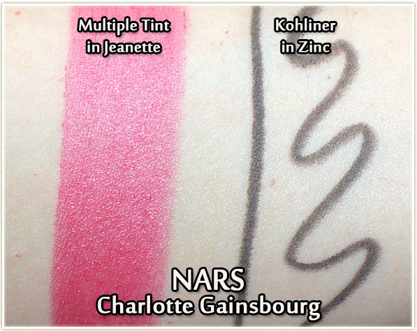 NARS x Charlotte Gainsbourg swatches - Multiple Tint in Jeanette and Kohliner in Zinc