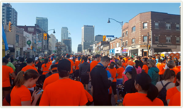 The start zone for the Sporting Life race - facing south down Yonge Street
