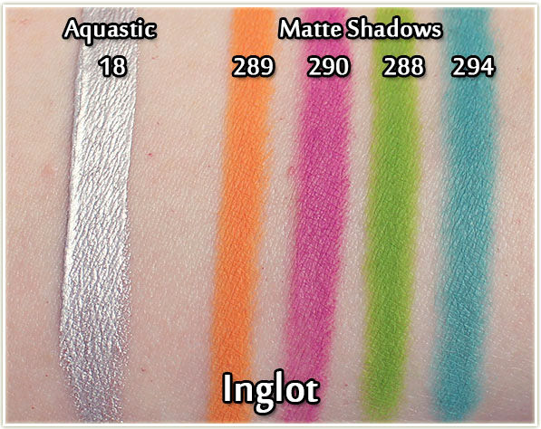 Inglot Aquastic and Ms. Butterfly eyeshadow swatches