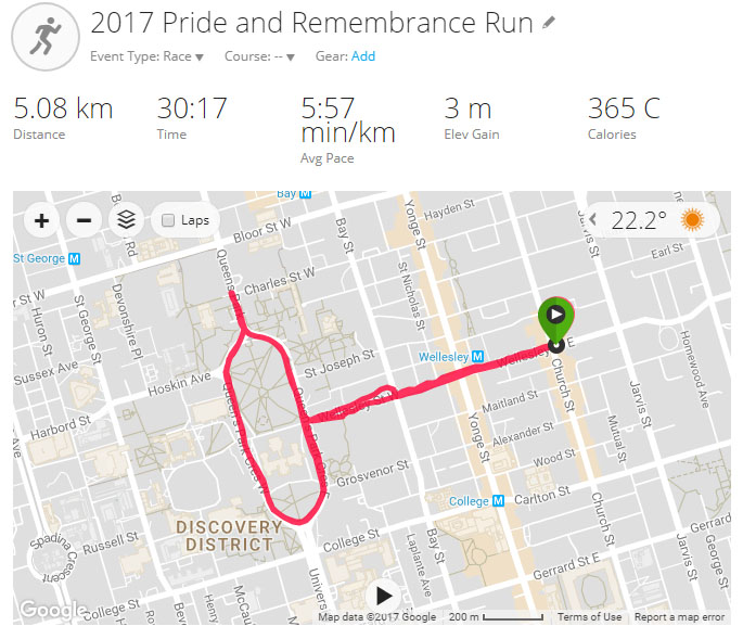 2017 Pride and Remembrance Run Course and Details