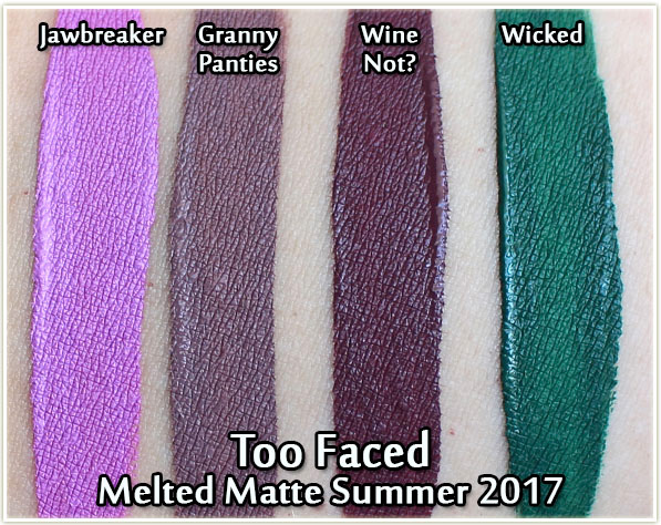Too Faced Melted Matte swatches - Jawbreaker, Granny Panties, Wine Not? and Wicked