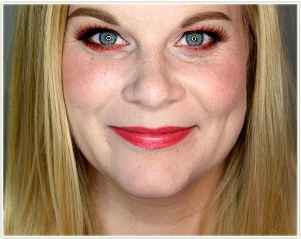 Wearing Estee Lauder Pure Color Love Lipstick in Flash Chill