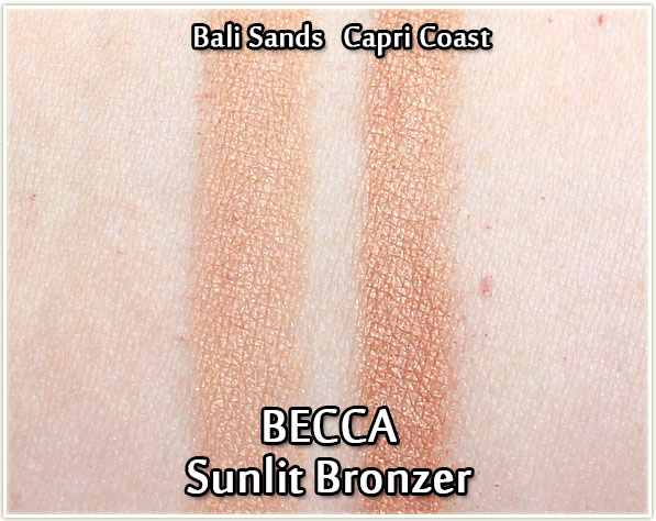 BECCA Sunlit Bronzer swatches in Bali Sands and Capri Coast