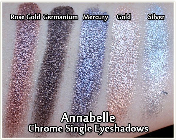 Annabelle Chrome Eye Shadows - swatches