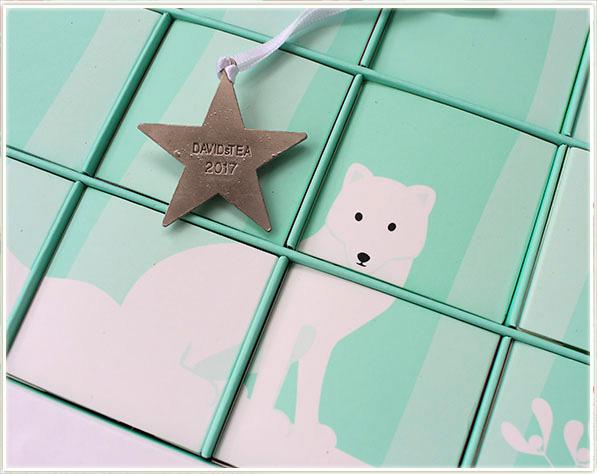 DAVIDsTEA 24 Days of Tea Advent Calendar comes with a small star ornament!