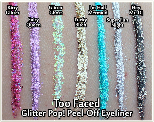 Too Faced Glitter Pop! Peel-Off Eyeliners - swatches