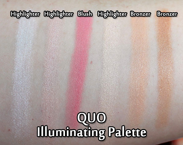 QUO Holiday 2017 Illuminating Palette - swatches