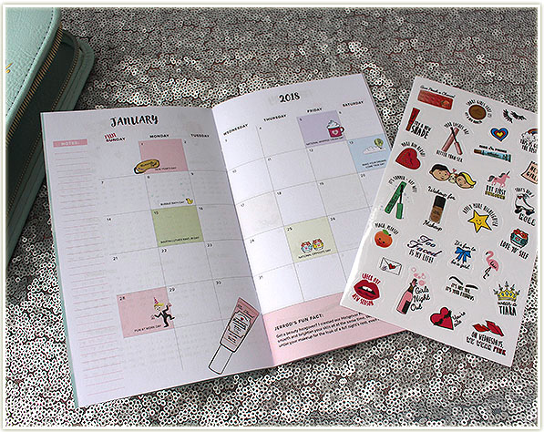 Comes with a 12 month calendar planner and a sticker set.