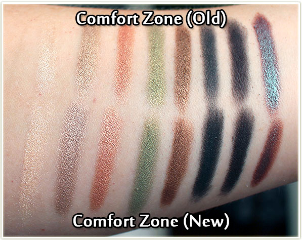 Wet n Wild - Comfort Zone - old vs new - swatches