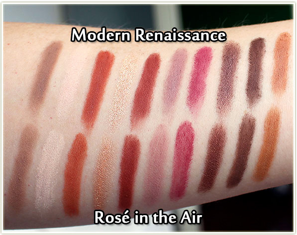 Rosé in the Air vs Modern Renaissance - swatches