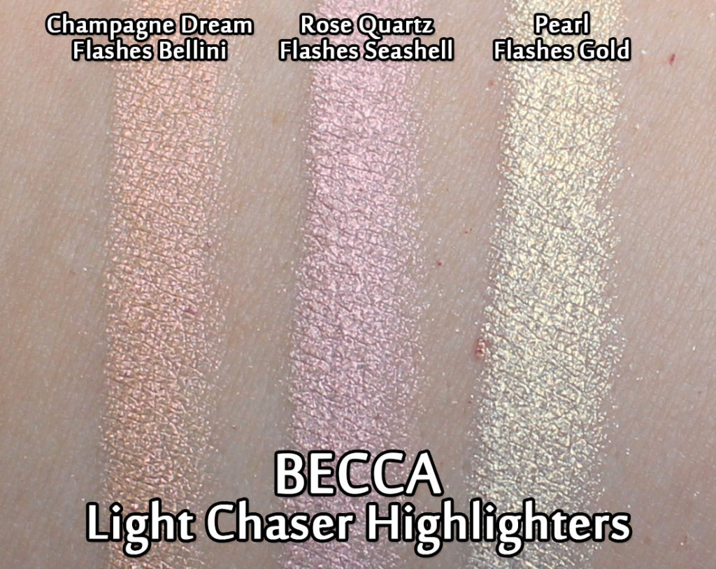 BECCA Light Chaser Highlighters - swatches